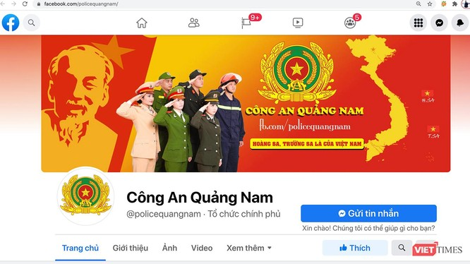 Giao diện trang facebook của lực lượng Công an tỉnh Quảng Nam