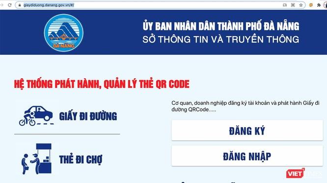 Giao diện ứng dụng cấp giấy đi đường QRCode cho người dân, doanh nghiệp trên địa bàn TP Đà Nẵng