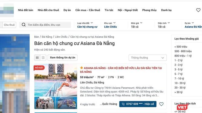 Bất chấp dự án Khu căn hộ Asiana chưa đủ điều kiện, các trang web vẫn rao bán