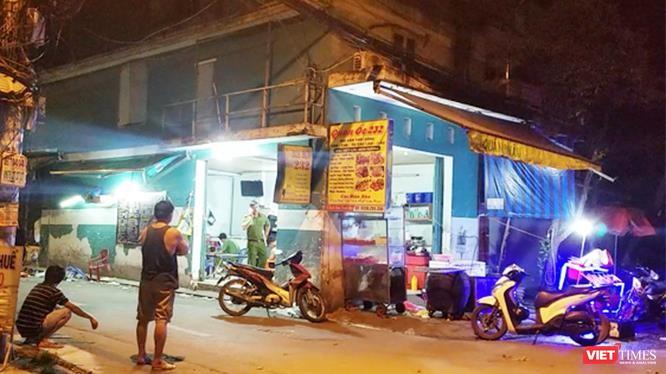 Hiện trường vụ án giết người ở quận Bình Tân rạng sáng 10/6/2019.