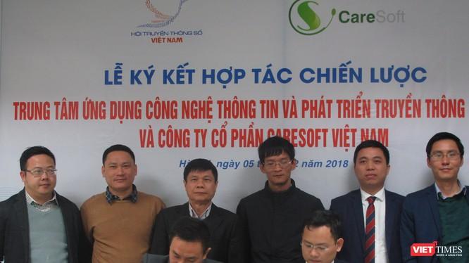 Toàn cảnh lễ ký hợp tác chiến lược của Trung tâm ứng dụng CNTT và phát triển Truyền thông số với Công ty CP Care Soft.