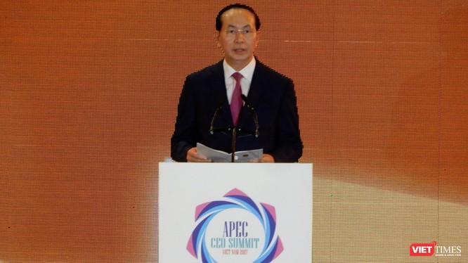 Chủ tịch nước Trần Đại Quang phát biểu tại CEO Summit 2017 - Ảnh: Hồ Xuân Mai