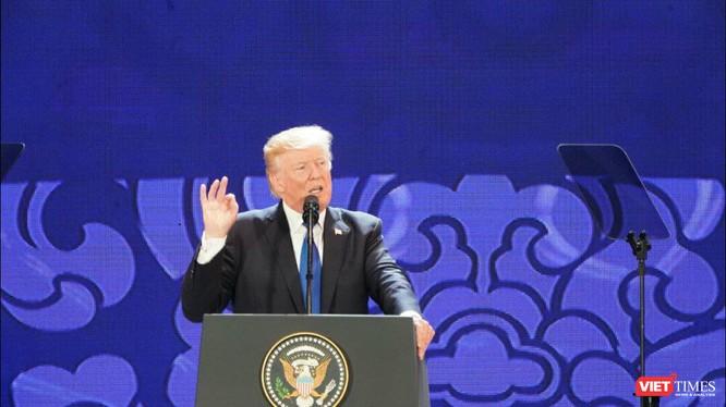 Tổng thống Mỹ Donal Trump phát biểu tại Hội nghị.