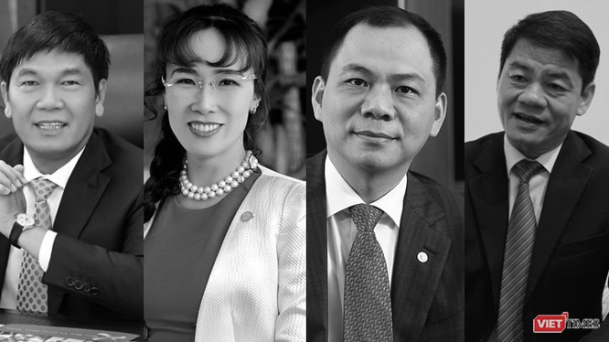 Ông Trần Đình Long, bà Nguyễn Thị Phương Thảo, ông Phạm Nhật Vượng và ông Trần Bá Dương