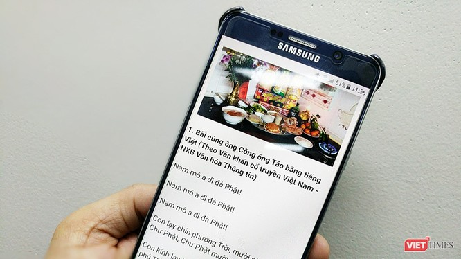 Có thể tìm bài khấn ông Táo bằng smartphone rất dễ dàng