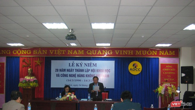 TS Trần Quang Châu - Chủ tịch Hội Khoa học & Công nghệ Hàng không Việt Nam phát biểu tại lễ kỷ niệm