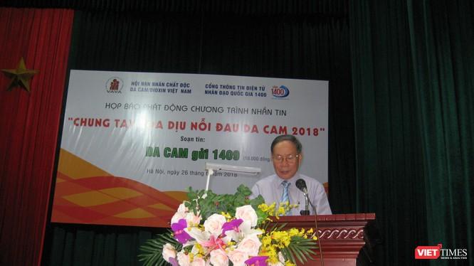Thượng tướng Nguyễn Văn Rinh - Chủ tịch Hội Nạn nhân Chất độc Dacam/Dioxin Việt Nam phát biểu tại buổi lễ