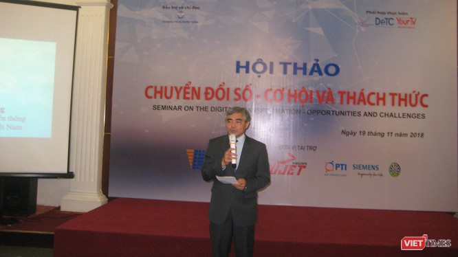TS Nguyễn Minh Hồng - Thứ trưởng Bộ Thông tin & Truyền thông, Chủ tịch Hội Truyền thông số Việt Nam phát biểu khai mạc