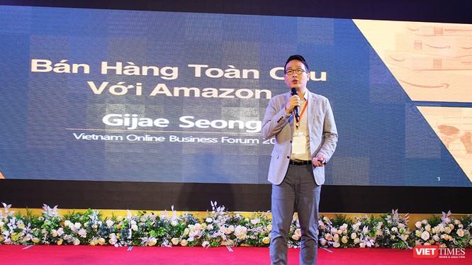ông Gijae Seong, Giám đốc Bán hàng toàn cầu của Amazon tại Singapore phát biểu tại Diễn đàn TMĐT Việt Nam 2018