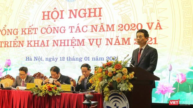 Bộ trưởng Nguyễn Mạnh Hùng phát biểu tại hội nghị