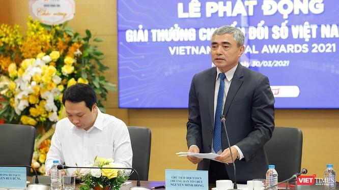 ông Nguyễn Minh Hồng - Chủ tịch Hội Truyền thông số Việt Nam, Trưởng ban Tổ chức Giải thưởng VDA 2021 phát biểu tại lễ phát động Giải thưởng tại Hà Nội ngày 30/3/2021