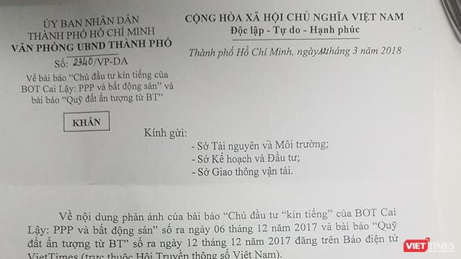 Công văn số 2340/VP-DA ngày 12/3/2018 của Văn phòng Ủy ban Nhân dân Thành phố Hồ Chí Minh.