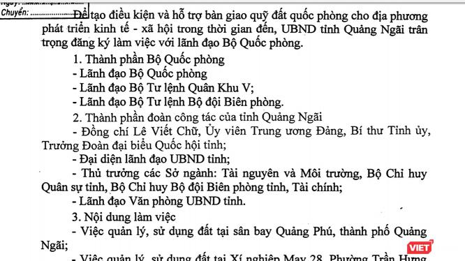 """Quảng Ngãi đăng ký làm việc với Bộ Quốc phòng, """"xin"""" quỹ đất để phát triển KT-XH. (Ảnh chụp văn bản)"""