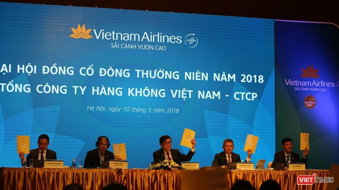 ĐHĐCĐ Vietnam Airlines: Trả cổ tức 2017 mức 8%, chốt mục tiêu lợi nhuận 2.400 tỷ đồng cho 2018. (Ảnh: HVN)