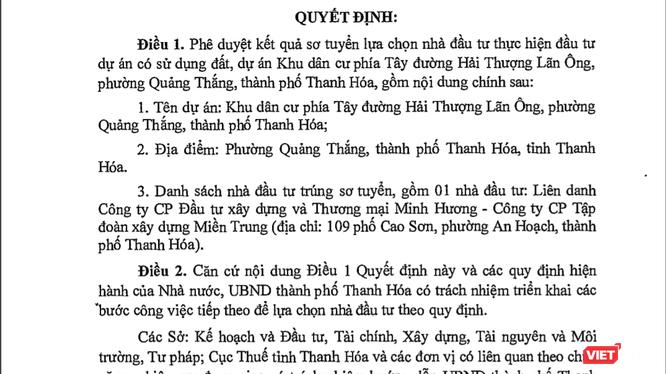 Trích Quyết định số 3601/QĐ-UBND ngày 24/9/2018 của Chủ tịch Ủy ban nhân dân tỉnh Thanh Hóa.