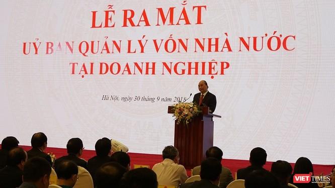Thủ tướng Nguyễn Xuân Phúc phát biểu trong Lễ ra mắt Ủy ban Quản lý vốn Nhà nước tại doanh nghiệp, chiều 30/9. (Ảnh: Tuấn Đào)