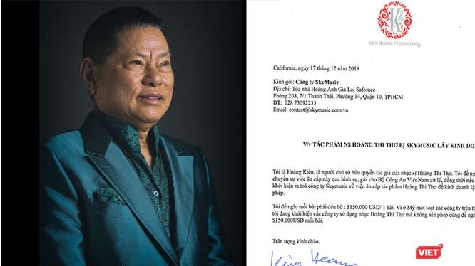Tỷ phú Hoàng Kiều yêu cầu Sky Music đền bù cho những vi phạm bản quyền 150.000 USD/bài