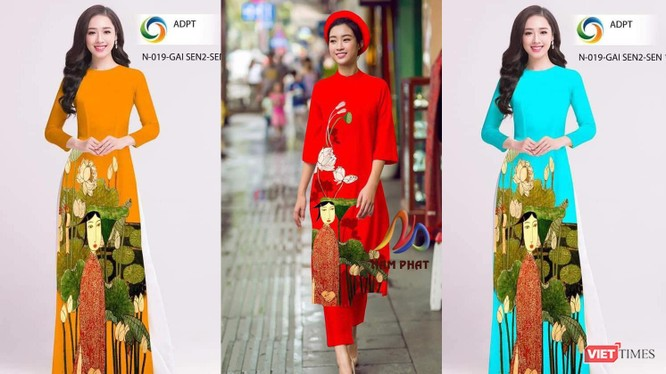 """Bức tranh sơn mài """"Ao sen"""" của họa sĩ Bùi Trọng Dư bị ăn cắp để in trên áo dài"""