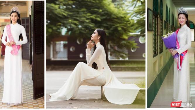 Hoa hậu Tiểu Vy, Á hậu Hoàng Thùy, Hoa hậu Đỗ Mỹ Linh thướt tha áo dài trắng