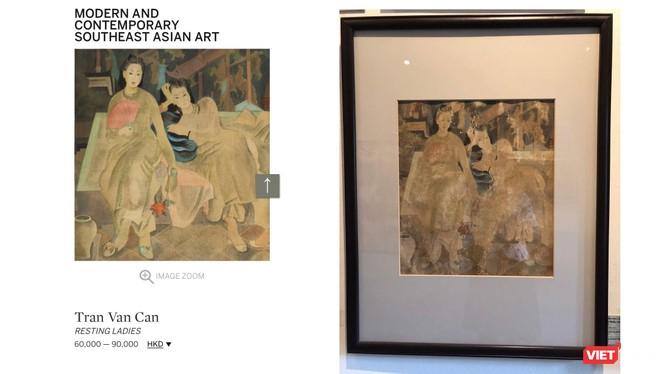 Tranh của họa sĩ Trần Văn Cẩn - Một bản khá mới đang được rao bán trên Sotheby's Hong Kong; trong khi bản đang lưu giữ ở Bảo tàng Mỹ thuật Việt Nam đã xuống cấp trầm trọng.