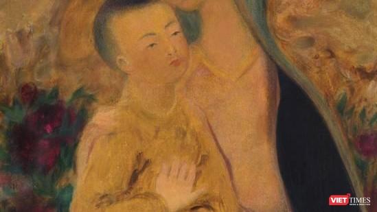 Một góc của bức tranh đề tên danh họa Lê Phổ gây tranh cãi khi em bé có hai ngón tay cái đang được rao bán trên Sotheby's
