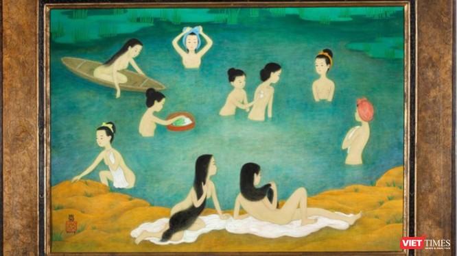"""Bức tranh lụa """"Những người phụ nữ tắm"""" của Mai Trung Thứ vừa bán ra thành công trên thị trường Châu Âu, có giá hơn 9 tỷ đồng"""