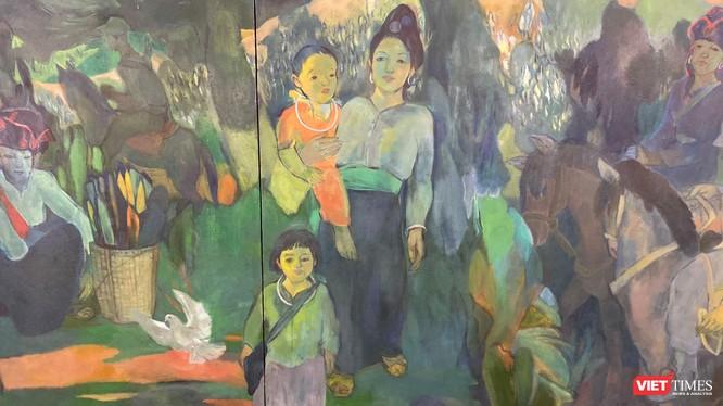"""Một phần bức tranh """"Chiều biên giới"""" của họa sĩ Trần Huy Oánh"""