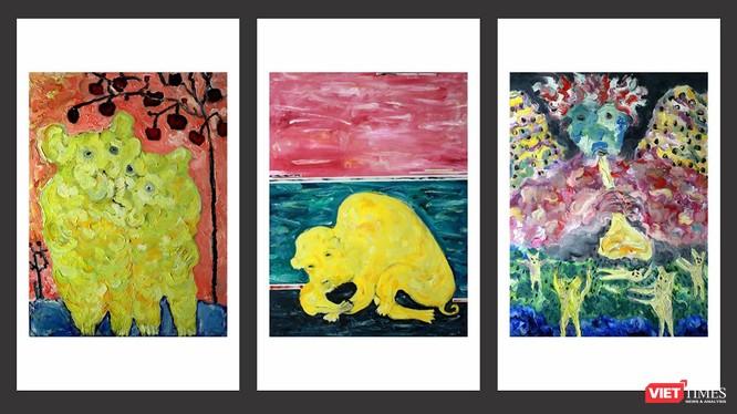 Tranh của họa sĩ Bùi Hoàng Dương với cảm hứng từ hình tượng con chó (Ảnh: Họa sĩ cung cấp)