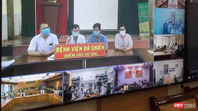 BV Dã chiến Củ Chi tham gia hội chẩn cấp quốc gia về điều trị bệnh nhân COVID-19 nặng (Ảnh: TTKT)
