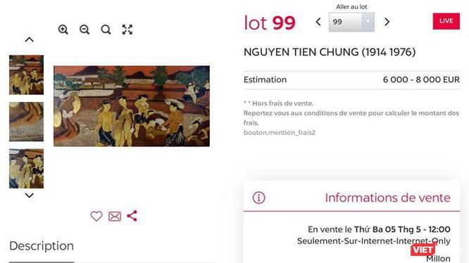 Lot 99 đấu giá tranh xấu giá cao, được khẳng định là tranh giả vì nét vẽ quá ngô nghê (Ảnh chụp màn hình trang đấu giá online Drouot, Pháp)