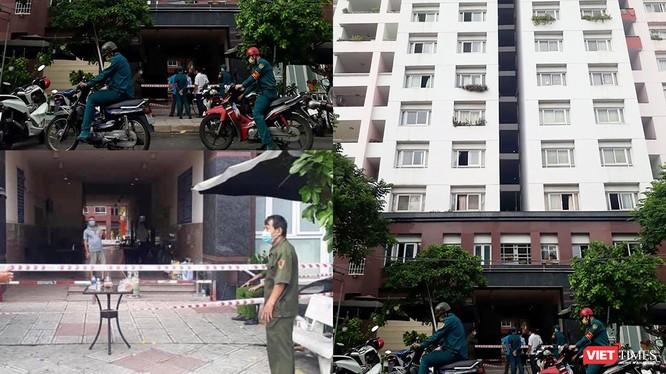 Chung cư Thái An 2 bị phong tỏa cách ly vì có bệnh nhân từ Đà Nẵng về nghi nhiễm COVID-19 (Ảnh: Hòa Bình ghép)