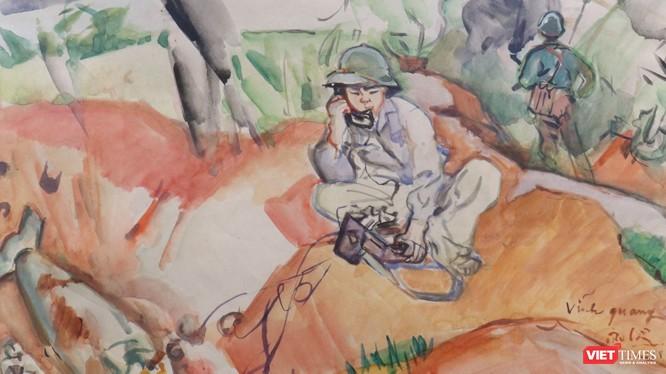 Điện tin từ mặt trận, màu nước trên giấy, 31 x 43 cm, 1968, Trần Văn Cẩn (Ảnh: PI)