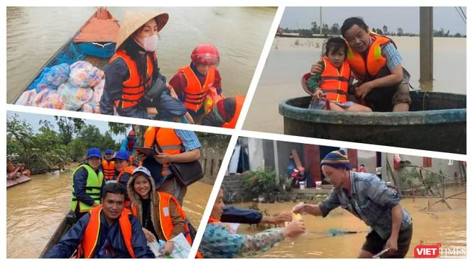 Nhiều đoàn do các tổ chức, cá nhân đang tiếp tục đi vào cứu trợ bà con vùng lũ (Ảnh: Hoà Bình ghép)