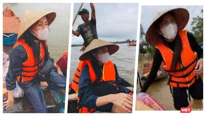 Thuỷ Tiên đi cứu trợ đồng bào vùng lũ miền Trung (Ảnh: FBNV, Hoà Bình ghép)