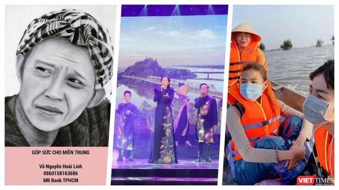 Sao Việt làm từ thiện cứu trợ miền Trung bão lũ (Ảnh: Hoà Bình ghép)