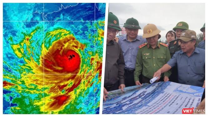 """Khẩn cấp sơ tán 450.000 dân, đóng cửa 6 sân bay vì """"siêu bão"""" số 9 sẽ vào đêm nay (Ảnh: Hoà Bình ghép)"""