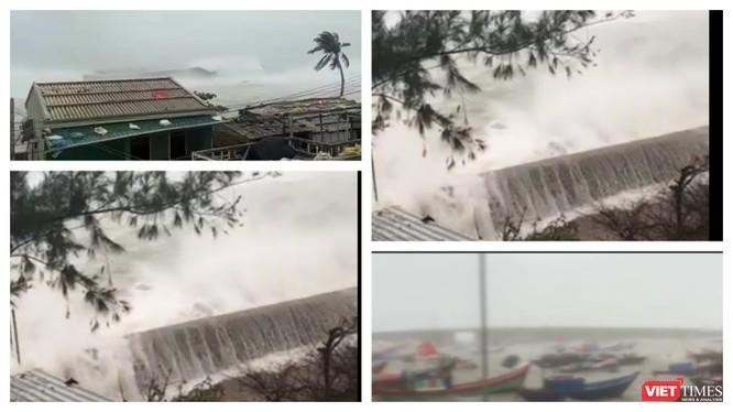 Cột sóng cao gần 10m đập vào đảo Lý Sơn sáng nay 28/10 (Ảnh: Hoà Bình ghép từ video clip)