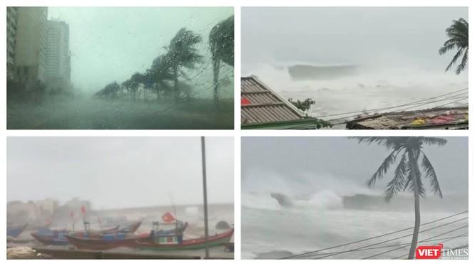 Sức tàn phá khủng khiếp của bão số 9 đang quét qua các tỉnh miền Trung (Ảnh: Hoà Bình ghép)