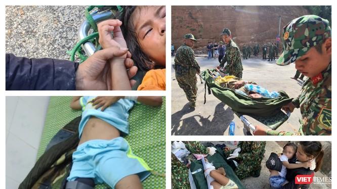 Lực lượng quân đội sơ cứu, đưa nạn nhân đi bệnh viện (Ảnh Hoà Bình)
