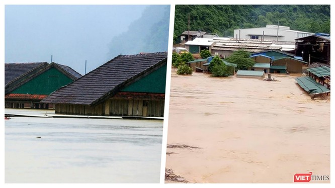 Nước lũ lên quá nhanh, chính quyền nhiều địa phương khẩn cấp di dời dân ngay trong đêm 30/10 (Ảnh: Hoà Bình ghép)
