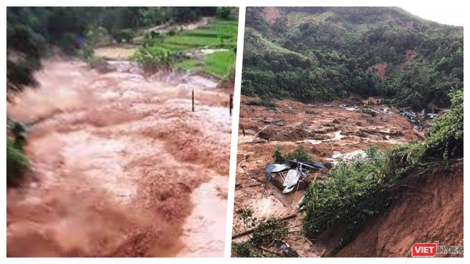 Video ghi lại cảnh lũ quét kinh hoàng ở Phước Sơn (Ảnh chụp lại màn hình video)