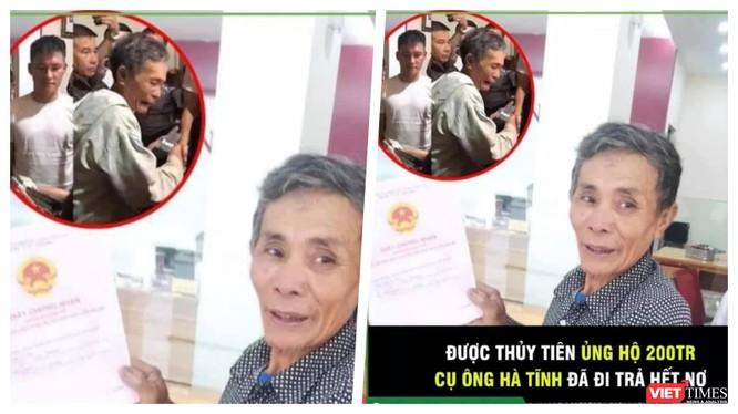 Thuỷ Tiên đã trao 200 triệu đồng cho một người dân đi trả hết nợ ngân hàng vì mất trắng gia sản sau lũ (Ảnh: FBNV)