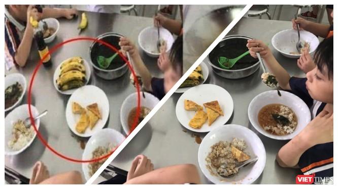 Bữa trưa bán trú của học sinh Trường Tiểu học Trần Thị Bưởi bị phản ứng dữ dội vì quá ít dinh dưỡng và nhiều thực phẩm không đảm bảo an toàn đã được nhập vào bếp ăn (Ảnh: HB ghép)