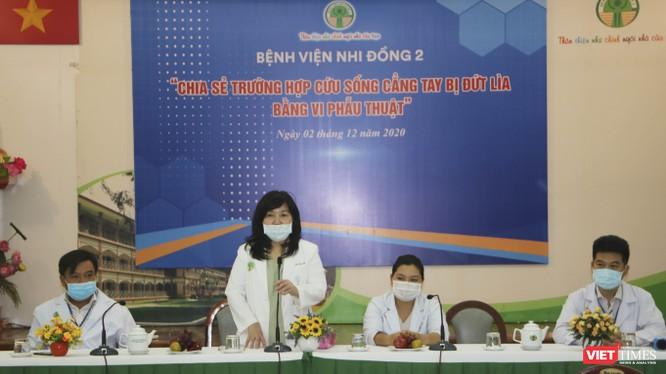 BS.CKII Lê Thị Minh Hồng, Phó giám đốc BV Nhi Đồng 2 phát biểu tại buổi họp báo sáng 2/12 - Ảnh: Hải Linh
