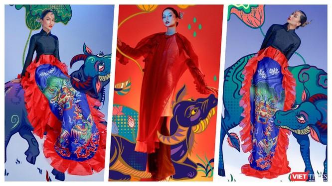 Hoa hậu H'Hen Niê tôn vinh tranh dân gian Đông Hồ trong bộ ảnh Tết (Ảnh: Nguyễn Minh Đức)