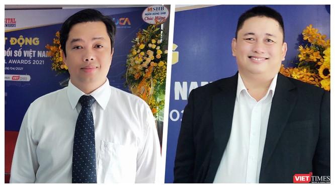 Ông Ngô Thanh Tùng - Phó Tổng Giám đốc SoftTech Đà Nẵng và ông Vũ Tuấn Anh - Phó Tổng Giám đốc Dr SME tại buổi họp báo sáng 6/4 tại Đà Nẵng (Ảnh: HB)