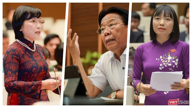 Các đại biểu có ý kiến về Quốc hội điện tử (Ảnh: Hoà Bình ghép)