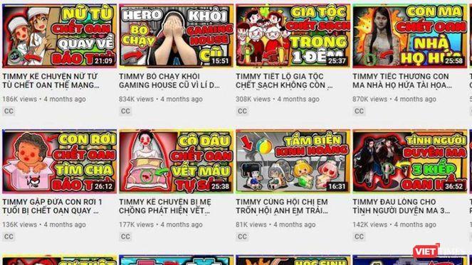 Trên kênh TIMMY TV phát tán nhiều nội dung độc hại, không phù hợp với trẻ em - Ảnh chụp màn hình.