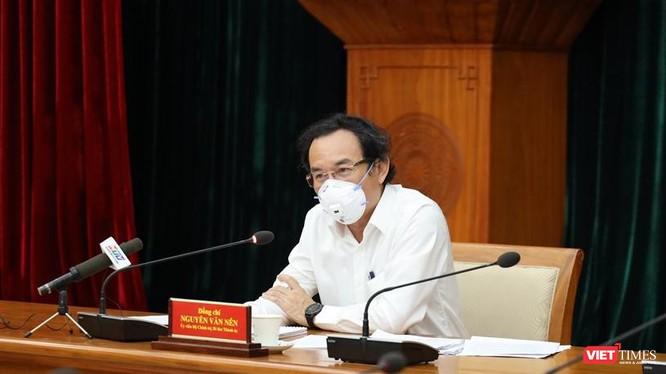 Bí thư Thành ủy TP.HCM Nguyễn Văn Nên chủ trì cuộc họp tại điểm cầu Thành ủy. Ảnh: Khang Minh