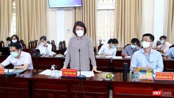 Ảnh: Bà Lương Mai Anh, Phó Cục trưởng Cục Quản lý Môi trường Y tế (Bộ Y tế), Trưởng Đoàn công tác của BYT tại Đồng Tháp